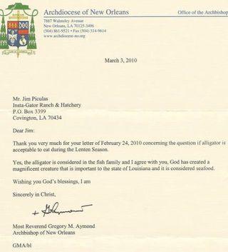 Archbishop_Aymond_Letter_on_Alligator_in_Lent